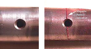 INSIDE VISION BY NDT - (MT) unseen crack below surface detected by magnetic_particle T
