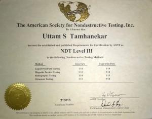 NDT Level III Certificate - Uttam Suryakant Tamhanekar